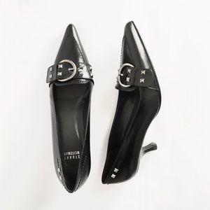Stuart Weitzman Black Leather Kitten Heel Stud 6.5